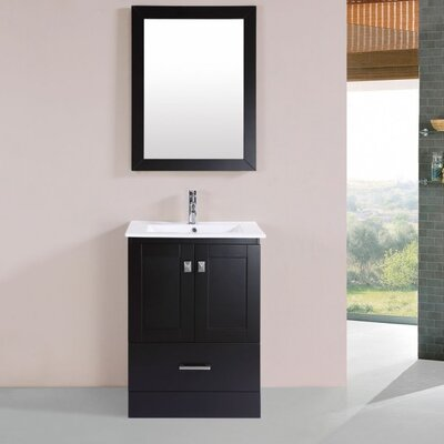 Melvina Modern 24 Single Bathroom Vanity Set with Mirror Base Finish: Espresso