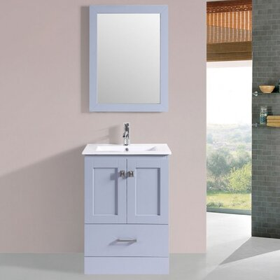 Landover Modern 24 Wood Base Single Bathroom Vanity Set with Mirror Base Finish: Gray