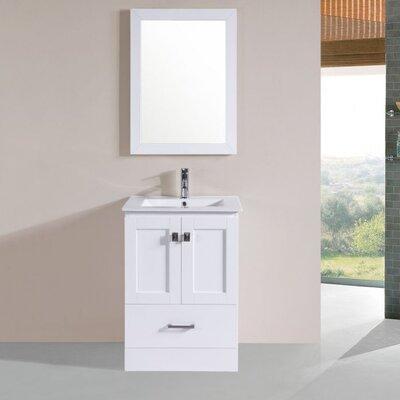 Melvina Modern 24 Single Bathroom Vanity Set with Mirror Base Finish: White