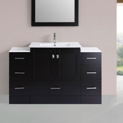 Luci Modern 54 Single Bathroom Vanity Set Base Finish: Espresso