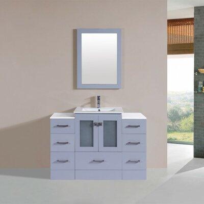 Terese Modern 48 Single Bathroom Vanity Set with Mirror Base Finish: Gray