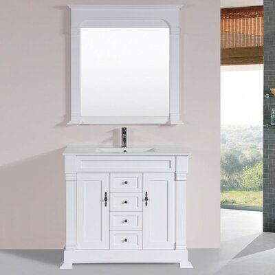 Buterbaugh Traditional 40 Single Bathroom Vanity Set with Mirror Base Finish: White