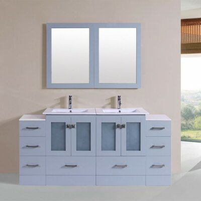 Terese Modern 72 Double Bathroom Vanity Set with Mirror Base Finish: Gray