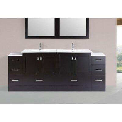 Luci Modern 84 Double Bathroom Vanity Set Base Finish: Espresso