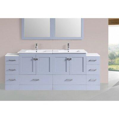 Luci Modern 84 Double Bathroom Vanity Set Base Finish: Gray
