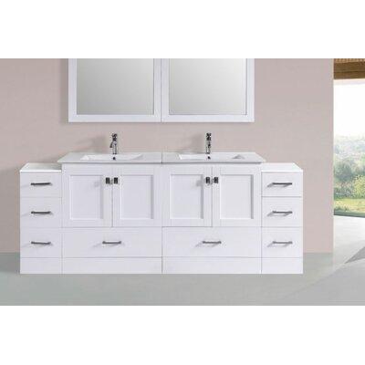 Luci Modern 84 Double Bathroom Vanity Set Base Finish: White