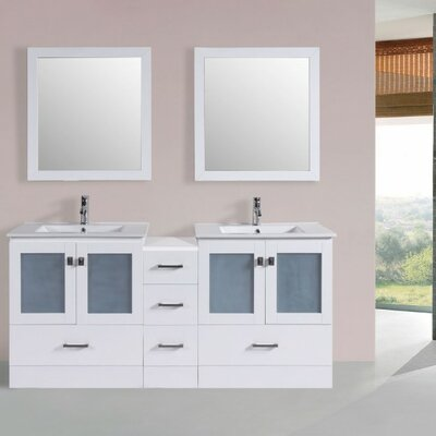 Terese Modern 72 Double Bathroom Vanity Set with Mirror Base Finish: White