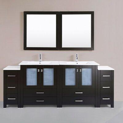 Lyn Modern 84 Double Bathroom Vanity Set with Mirror Base Finish: Espresso