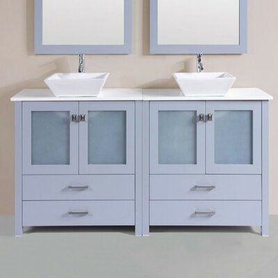 Lyn Modern 60 Double Modern Bathroom Vanity Set with Mirror Base Finish: Gray