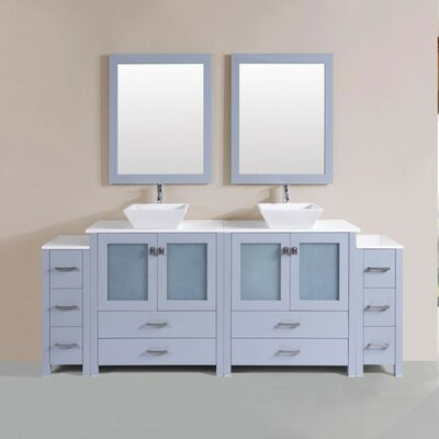 Lyn Modern 84 Double Bathroom Vanity Set with Mirror Base Finish: Gray