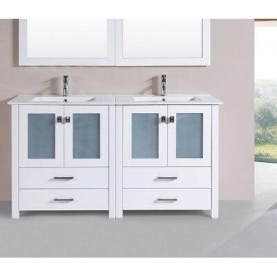 Lyn Modern 60 Double Bathroom Vanity Set Base Finish: White