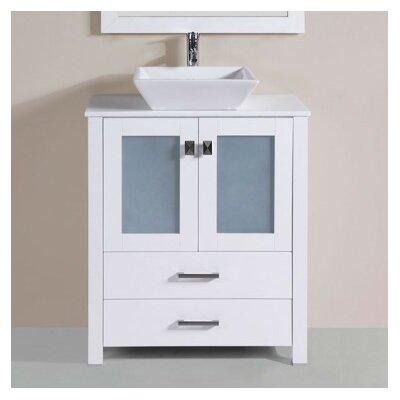 Lyn Modern 30 Single Bathroom Vanity Set with Mirror Base Finish: White