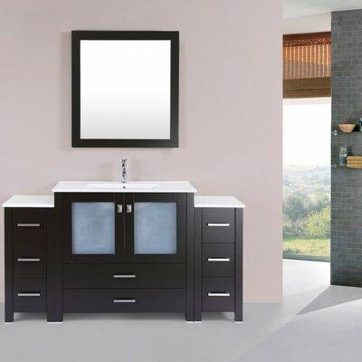 Lyn Modern 60 Single Bathroom Vanity Set with Mirror Base Finish: Espresso