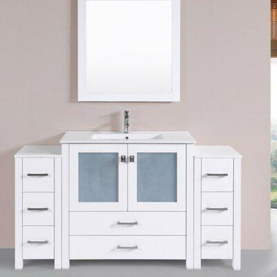 Lyn Modern 60 Single Bathroom Vanity Set with Mirror Base Finish: White