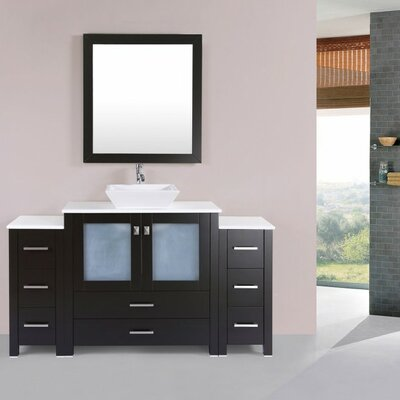 Lyn Modern 60 Single Bathroom Vanity Set with Miror Base Finish: Espresso