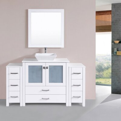 Lyn Modern 60 Single Bathroom Vanity Set with Miror Base Finish: White