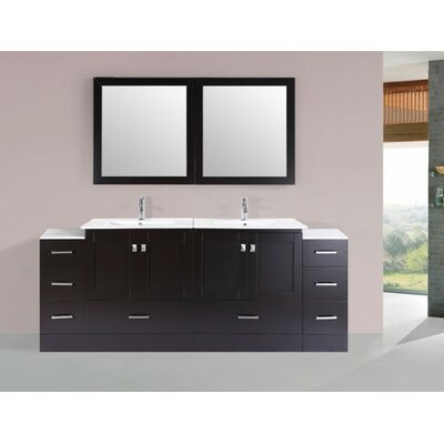 Luci Modern 84 Double Bathroom Vanity Set with Mirror Base Finish: Espresso