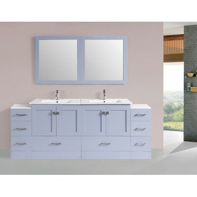 Luci Modern 84 Double Bathroom Vanity Set with Mirror Base Finish: Gray