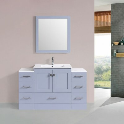 Luci Modern 54 Single Bathroom Vanity Set with Mirror Base Finish: Gray