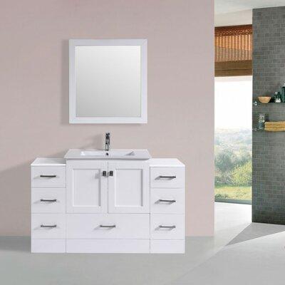 Luci Modern 54 Single Bathroom Vanity Set with Mirror Base Finish: White