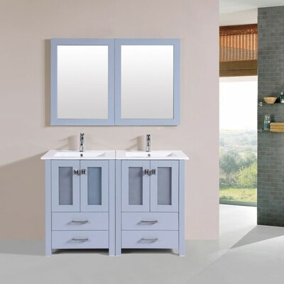 Lyn Modern 48 Double Bathroom Vanity Set with Mirror Base Finish: Gray