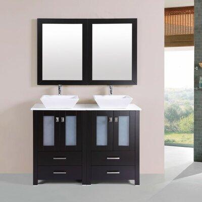 Lyn Modern 48 Double Bathroom Vanity Set with Mirror Base Finish: Espresso