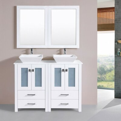Lyn Modern 48 Double Bathroom Vanity Set with Mirror Base Finish: White