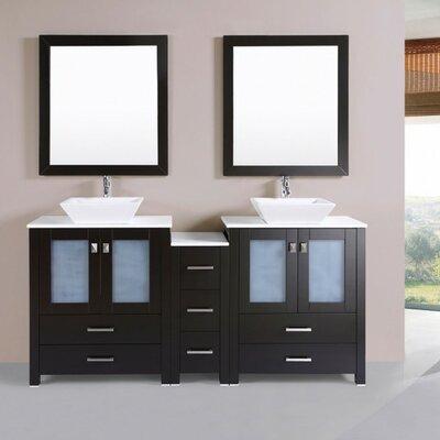 Lyn Modern 72 Double Bathroom Vanity Set Base Finish: Espresso