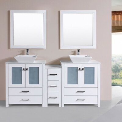Lyn Modern 72 Double Bathroom Vanity Set Base Finish: White