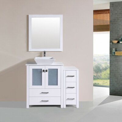Lyn Modern 42 Single Bathroom Vanity Set with Mirror Base Finish: White