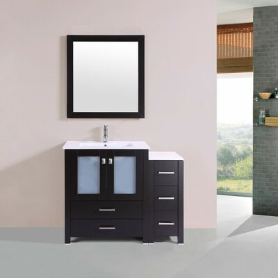 Lyn Modern 42 Single Bathroom Vanity Set with Mirror Base Finish: Espresso