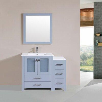 Lyn Modern 42 Single Bathroom Vanity Set with Mirror Base Finish: Gray