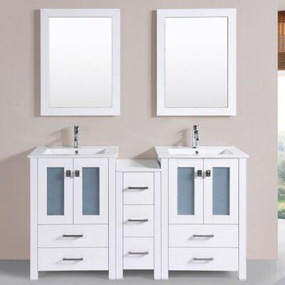 Lyn Modern 60 Double Bathroom Vanity Set with Mirror Base Finish: White