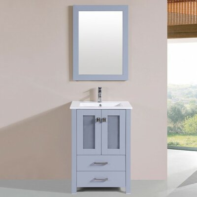 Lyn Modern 24 Single Bathroom Vanity Set with Mirror Base Finish: Gray