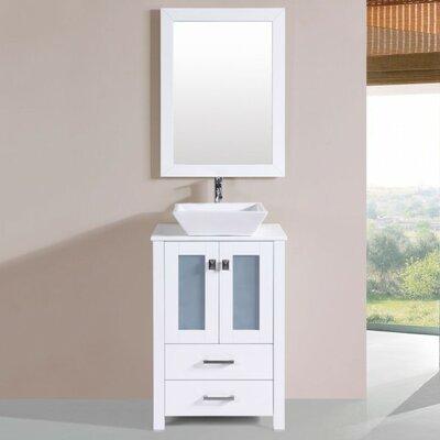 Lyn Modern 24 Single Bathroom Vanity Set with Mirror Base Finish: White