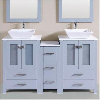 Lyn Modern 60 Double Bathroom Vanity Set Base Finish: Gray