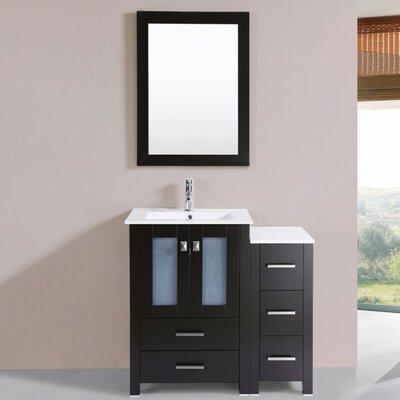 Lyn Modern 36 Single Bathroom Vanity Set with Mirror Base Finish: Espresso