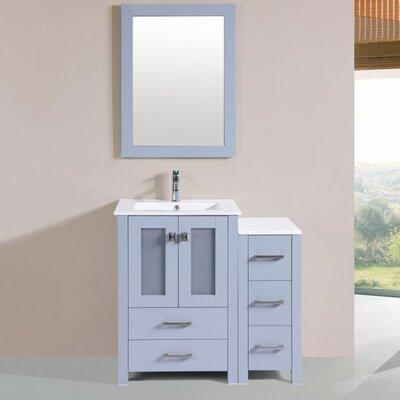 Lyn Modern 36 Single Bathroom Vanity Set with Mirror Base Finish: Gray