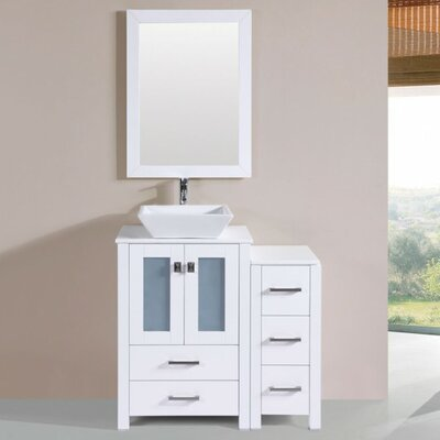 Lyn Modern 36 Single Bathroom Vanity Set with Mirror Base Finish: White