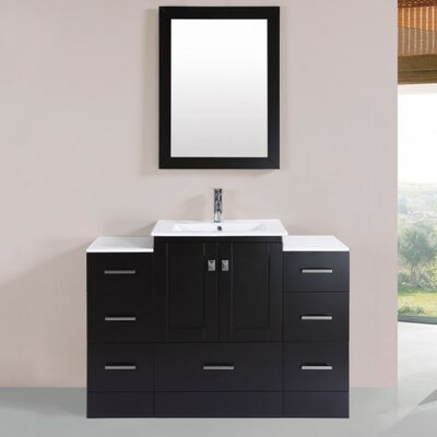 Luci Modern 48 Single Bathroom Vanity Set with Mirror Base Finish: Espresso