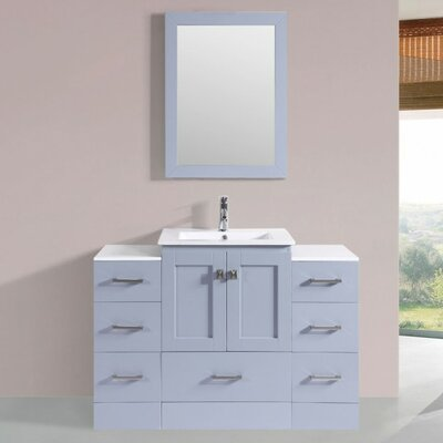 Luci Modern 48 Single Bathroom Vanity Set with Mirror Base Finish: Gray