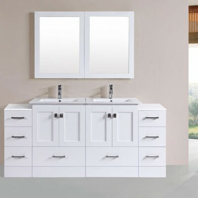 Luci Modern 72 Double Bathroom Vanity Set with Mirror Base Finish: White