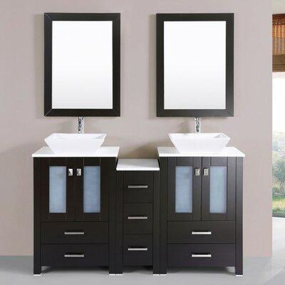 Lyn Modern 60 Double Bathroom Vanity Set with Mirror Base Finish: Espresso