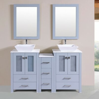 Lyn Modern 60 Double Bathroom Vanity Set with Mirror Base Finish: Gray