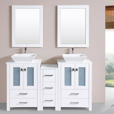 Lyn Modern 60 Double Bathroom Vanity Set with Mirror Base Finish: White