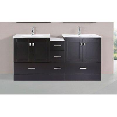 Luci Modern 72 Double Bathroom Vanity Set Base Finish: Espresso