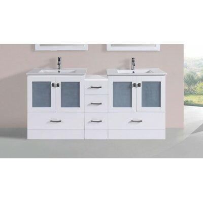 Terese Modern 72 Double Bathroom Vanity Set Base Finish: White