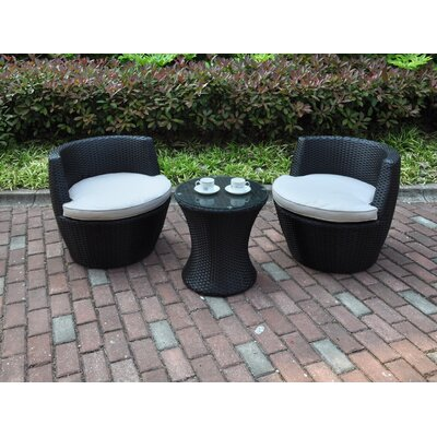 3 Piece Deep Seating Group with Cushions Finish: Dark Brown