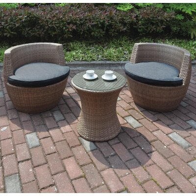 3 Piece Deep Seating Group with Cushions Finish: Natural Brown