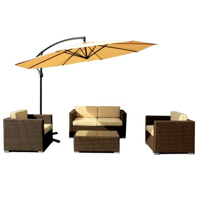 Patio Wicker 5 Piece Deep Seating Group with Cushions Finish: Rustic Dark Brown